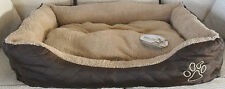 Rosewood Luxury Quilted Pet Dog Cat Bed Basket Cushion Chocolate Brown Beige