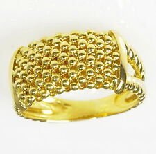 18k Yellow Gold Italy Gold Ball Mesh Wide Band Unique Style Estate Ring