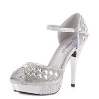 Womens Platform High Heel Embellished Ankle Strap Diamante Party Shoes Size