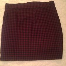 Houndstooth Skirt Designer Cop-Copine Wool w/Bow Detail Maroon and Black Size S