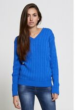 NEW WOMENS LADIES CASUAL BASIC CABLE KNIT V NECK JUMPER WARM WINTER KNITTED TOP