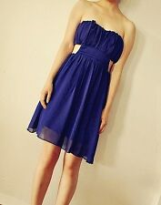 Blue tube top strapless chiffon cutout sides dress size small New