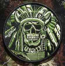 DEATH SKULL WAR CHIEF INDIAN ARMY TACTICAL FOREST VELCRO® BRAND FASTENER PATCH