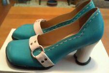 JOHN FLUEVOG HI-CHOICE VANNY 10.5 HEART HEEL TURQUOISE LEATHER PUMPS HEELS SHOES