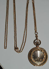 ANTIQUE SLIDE PINK CHAIN ELGIN POCKET WATCH AWC Co.  14KT GOLD
