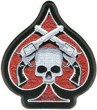 Iron On/ Sew On Embroidered Patch Badge Ace Of Spades Skull and Guns Large