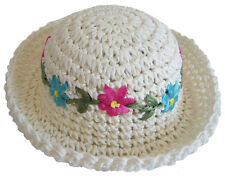 "EASTER White Raffia Hat Pink & Teal Flowers for 18"" American Girl Doll Clothes"