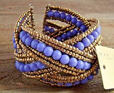 Braided Crossed Plastic Gold Seed Bead Chunky Wide Cuff Bracelet Fashion Jewelry
