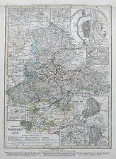 1849 Allemagne provinz sachsen Erfurt Magdeburg antique map Meyer main coloré