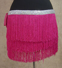 3 Layer Fringe Burlesque Belly Dance Tie Hip Scarf Skirt-Silver Sequin Hot Pink