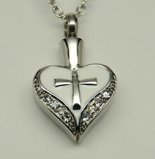 PRETTY WHITE HEART CROSS CREMATION URN JEWELRY HEART URN MEMORIAL PENDANT