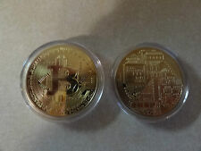CHALLENGE COIN BITCOIN DIGITAL DECENTRALIZED COPPER METAL KEEPSAKE FREE CAPSULE