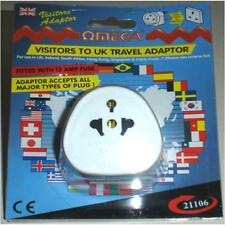 Omega 21106 Travel Plug Adaptor UK Visitors Universal Multi Plug to 3 Pin White