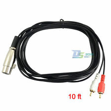 High Quality XLR ( 3pin ) Female to Dual 2 RCA Male Socket Audio Cable 3m 10ft