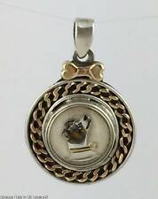 Reverse Painted Jack Russell Terrier Dog 14K Gold & Silver Pendant for Necklace