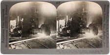 Keystone Stereoview of Steel Beams being Cut, Pittsburgh, PA from Education Set