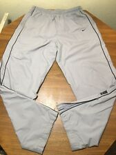 Nike Zippered Leg Big Embroidered Mens XL Gray Flannel Lined Track Sweatpants