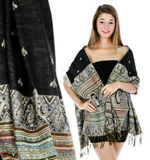 Paisley Jacquard Pashmina Shawl Multi-Color & Black / Fringe Accents