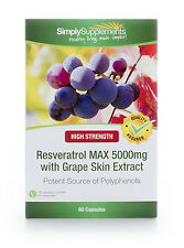 Simply Supplements Resveratrol Max 5000mg 60 Capsules (B574)
