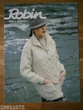 VINTAGE KNITTING PATTERN ROBIN 13128 LADYS ARAN LONG LINE JACKET WITH POCKETS