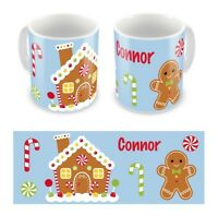 Personalised Children's Kid's Mugs Cup Christmas Gingerbread Man House Any Name