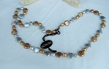 "WONDERFUL QVC FRESHWATER COIN PEARL AND BAROQUE METALLIC NECKLACE 23"" NEW"