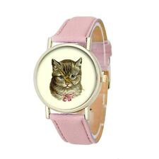 BEAUTIFUL CAT WATCH - PINK FAUX LEATHER STRAP - GUARANTEED - FREE P&P.....CG0176