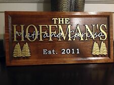 """11"""" x 23"""" Wood Carved Personalized Gold and Silver lettered Sign with Gold Trees"""