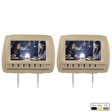 "2x 9"" HD Headrest Monitor Car DVD Player USB SD TV MP3 Kopfstütze Autorad Beige"