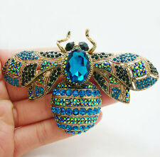 Fashion Elegant Bee Insectl Gold-plated Brooch Pin Blue Crystal Rhinestone