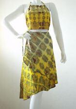 Two Piece Tie & Dye Halter Sexy Halter Top & Wrap Skirt Suit Set - S