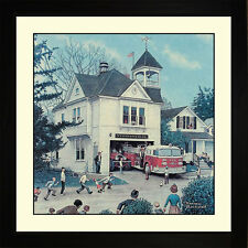 Norman Rockwell NEW AMERICAN LAFRANCE IS HERE Framed Fire Station Engine Art