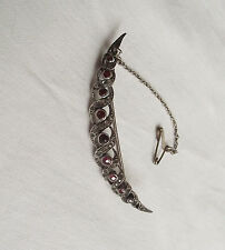 Beautiful Vintage Silver Crescent Brooch with Garnet & Paste Stones