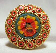 Vintage Italian Micro Mosaic Glass Floral Pin Raised Flower Round Brooch 616D