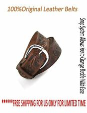 Beltox Men's Genuine Cowhide Leather Belt Snap Button Metal Buckle