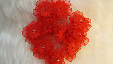 UK-Fabric,Red -  Organza Ribbon Flowers  Appliques,Trimmings ,Wedding- 30mm x 10