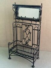 Black Wire Porch Hall Stand With Mirror & Coat Hooks, Doll House Miniatures,