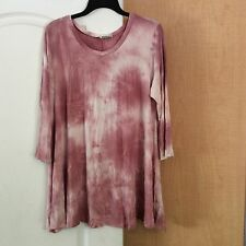 New Frumos - Pink/Multi color Tie Dye A-Line women top Plus Size 1X - USA