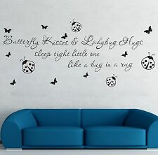 Butterfly Kiss & Lady Bug Hug Wall Art Quote Vinyl Decal Kids Nursery Stickers