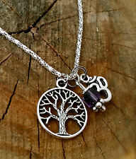 Amethyst Healing Crystal Reiki Light TREE OF LIFE  OM Spirit Necklace  Mothers D