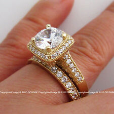 Genuine Solid 9ct Yellow Gold Engagement Wedding 2 Rings Set Simulated Diamonds