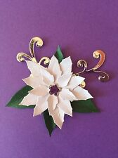 4 White And Silver Poinsettia, Christmas Die Cuts