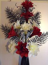 Artificial Silk Flower Arrangement In Red & Cream Lily In Black Modern  Vase