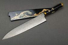 Japanese Urushi Makie Art Knife Takeshi Saji 300mm Gyuto R2 SG2 Diamond Damascus