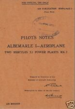 ARMSTRONG-WHITWORTH ALBEMARLE manual WW2 archive rare original detail 1940's
