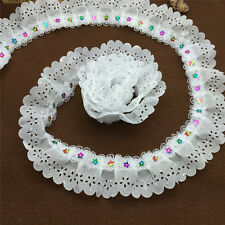 New 5 Yards 2-layer White Pleated Trim Gathered Ripple Mesh Lace Sequined Trim #