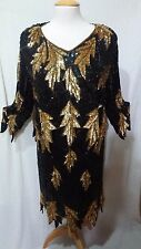 MAHARAJ VINTAGE 100% SILK HEAVILY BEADED 2 PC SEQUINED EVENING DRESS - Size MED