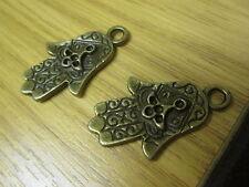 2 Hamsa Hand shape PENDANT CHARMS........... vintage style khamza collector item