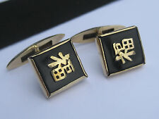 Vintage Asian Sterling Silver Black Onyx Gemstone Cufflinks Chinese Charcters