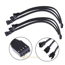 4 pin PWM Fan Cable 1 to 3 ways  Splitter Black Sleeved Extension Cable